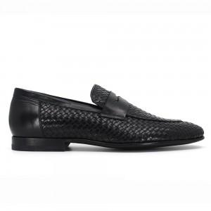 Bruno Siyah Örgü Deri Erkek Klasik Ayakkabı